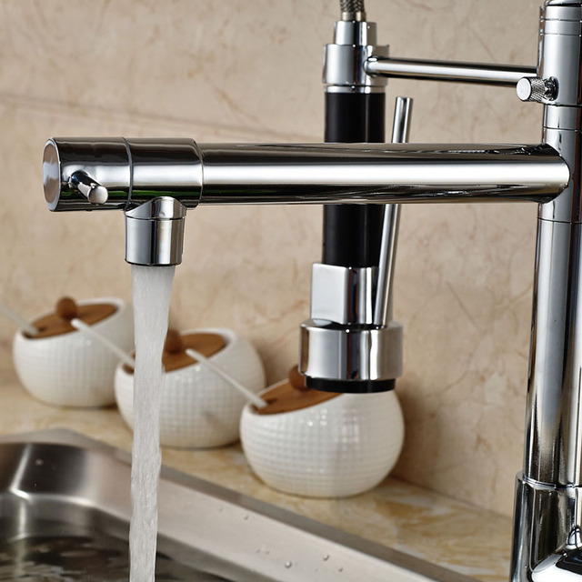 Chrome Spring Pull Down Kitchen Faucet Dual Spouts 360 Swivel Handheld Shower Kitchen Mixer Crane Hot Cold 2 Outlet Spring Taps 4