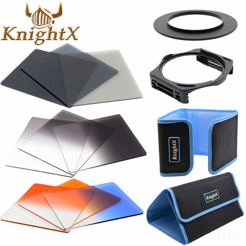 KnightX 52mm 58mm 72mm 77mm Complete Square lens filter Accessory Kit ND for Cokin P Series Filter Holder for Nikon Sony Canon