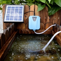 Outdoor Aquariums Solar Powered OR DC Charging Oxygenator Air Pump Fishing O2 Compressor with Solar Panel 3600mAH Battery