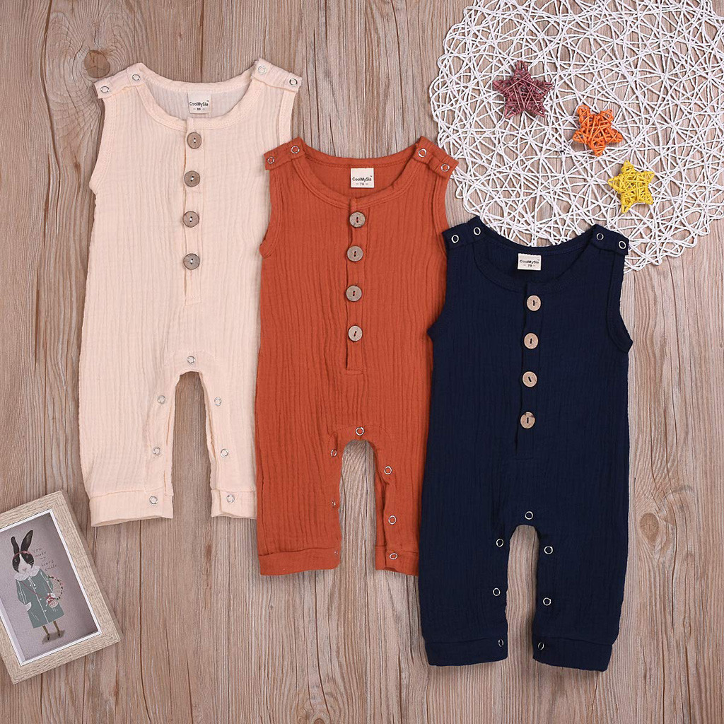 Newborn baby girl   rompers   Infant Toddler flax Linen Solid Button jumpsuit suit clothes clothing одежда для пупсов