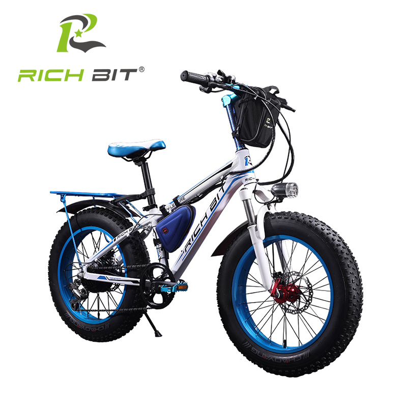 Richbit 7 Speeds Fat Tire Electric bike 20 Inch Electric Snow Bicycle Mountain Bicycle 350Watt 36V Lithium Battery Electric Bike