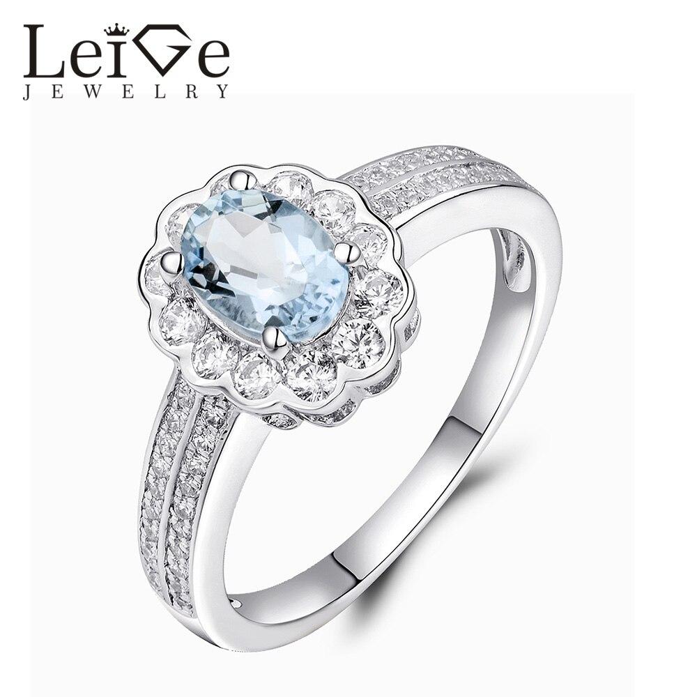 Leige Šperky Přírodní Sterling Stříbrná Modrá Akvamarínový Prsten Halo Drahokam Snubní Prsteny pro Dívku Březen Kámen