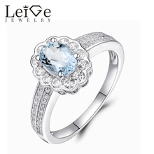 Leige Jewelry Natural Sterling Silver Blue Aquamarine Ring Halo Gemstone Wedding Promise Rings for Girl March Birthstone