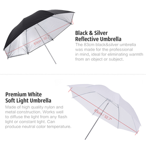Image 2 - Andoer caméra Double Flash chaussure montage pivotant doux parapluie Kit doux parapluie + pied de lumière + Shoemount + support de Type B + sac de transport