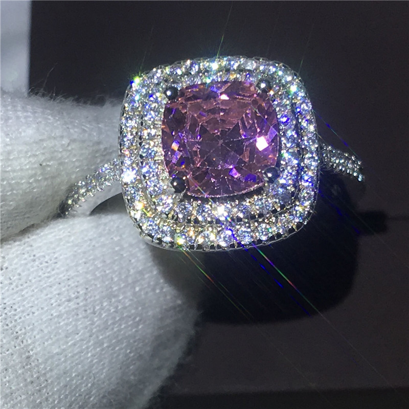 Dazzling Women Engagement wedding band ring for women cushion cut 8mm Pink 5A zircon crystal 925 Sterling silver Bijoux