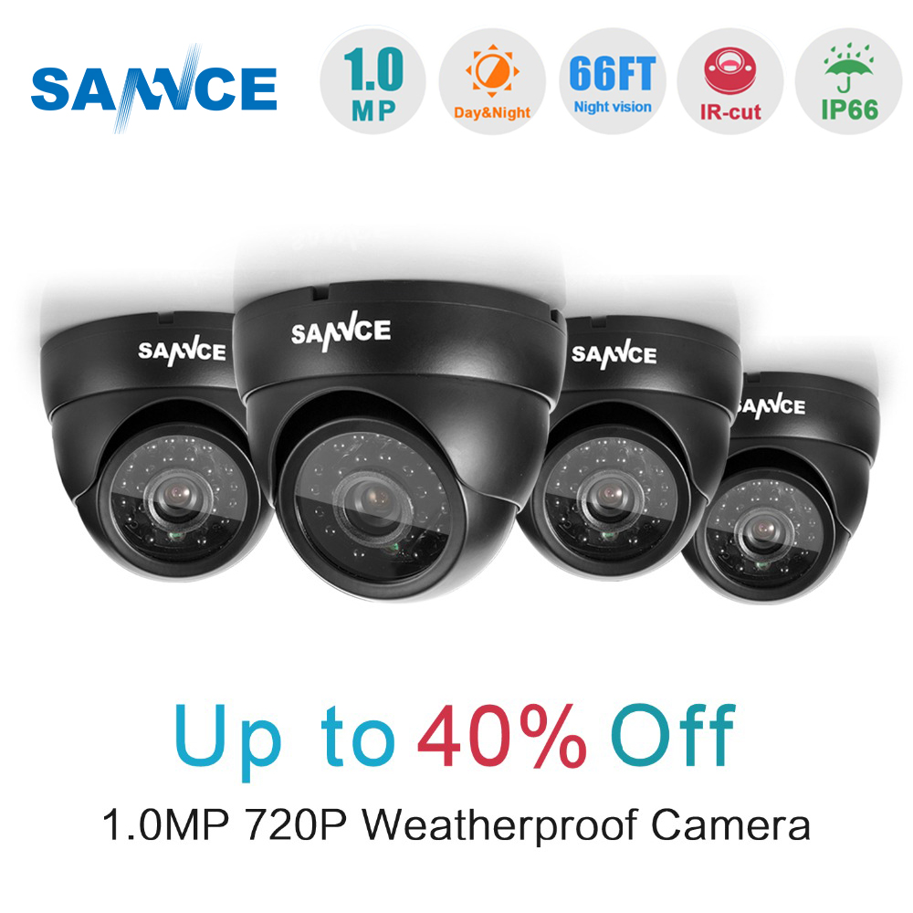 SANNCE 4PCS 720P 1280TVL CCTV Camera System Outdoor Indoor IR Night vision 1MP Home CCTV Security Cameras in Surveillance kit ssicon indoor 4 in 1 analog camera 1080p home security 20m ir distance night vision surveillance cctv cameras with osd menu