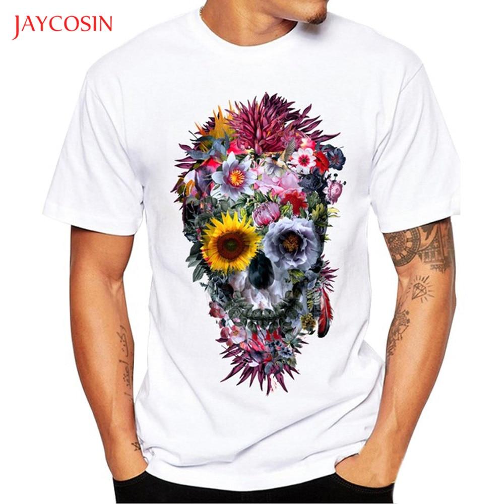 Jaycosin Clothes Men Cartoon Print   T  -  shirt   Tops Boys Summer Short Sleeve Casual O-neck   t     shirt   blouse men Skull Print Blouse