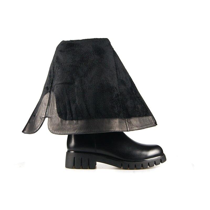 Liner Gruesos Lana Mujer Sobre Vaca Calzado De Motocicleta Redonda Zapatos black Caliente Short Mujeres Punta Señora Rodilla Isnom Tacones La Cuero Wool Invierno Botas Plush SZUpU8