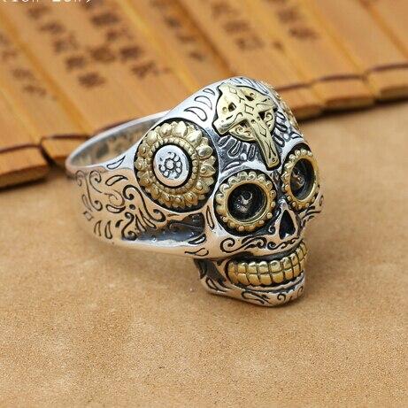 Nouveau fait à la main 925 argent crâne anneau mâle anneau Vintage thaïlande argent crâne homme anneau pur argent mâle anneau bijoux cadeau