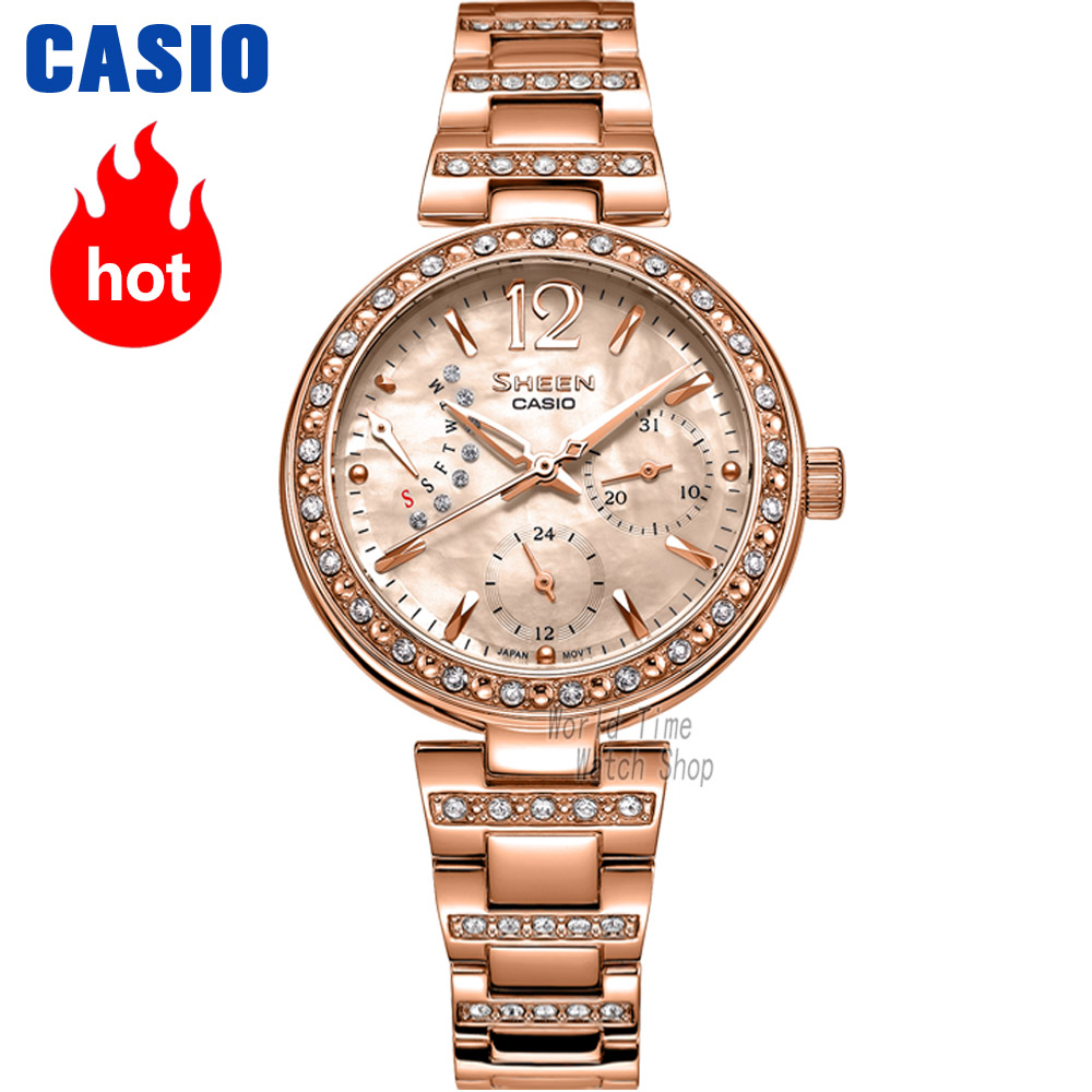 Casio watch Ladies watch fashion rhinestone quartz watch SHE-3043SG-7A SHE-3043PG-9A SHE-3043PG-7A SHE-3043D-7A SHE-3043SPG-7B casio she 5020l 7a