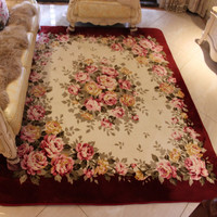 130X185CM Pastoral Rose Carpets For Living Room Soft Coral Velvet Area Rug For Bedroom Coffee Table
