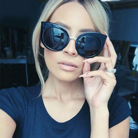 Hot New Women Cat Eye Sunglasses Oversized Women Round Vintage Brand Designer Cat Eye Sunglasses Female Pink Sun Glasses 1030M