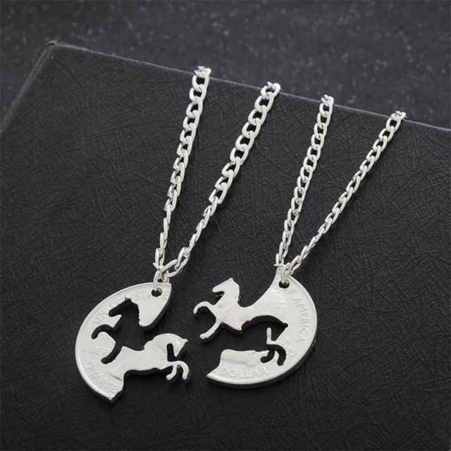 Friendship Pendant Necklace 2pc running horse puzzle necklace gifts for best friend women men 2pc running horse puzzle necklace gifts for best friend women men friendship pendant necklaces silver plated audiocablefo