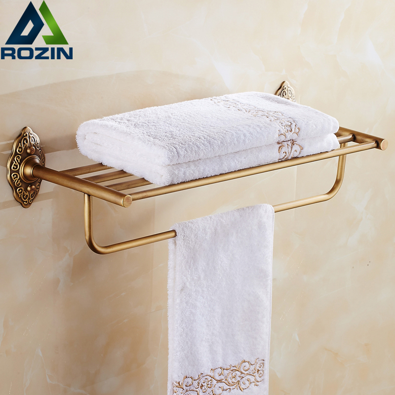 Wall Mounted Good Quality In-wall Bathroom Towel Holder with Towel Bar Antique Brass Finish wall mount artistic double towel bar antique brass bathroom good quality dual bar towel holder