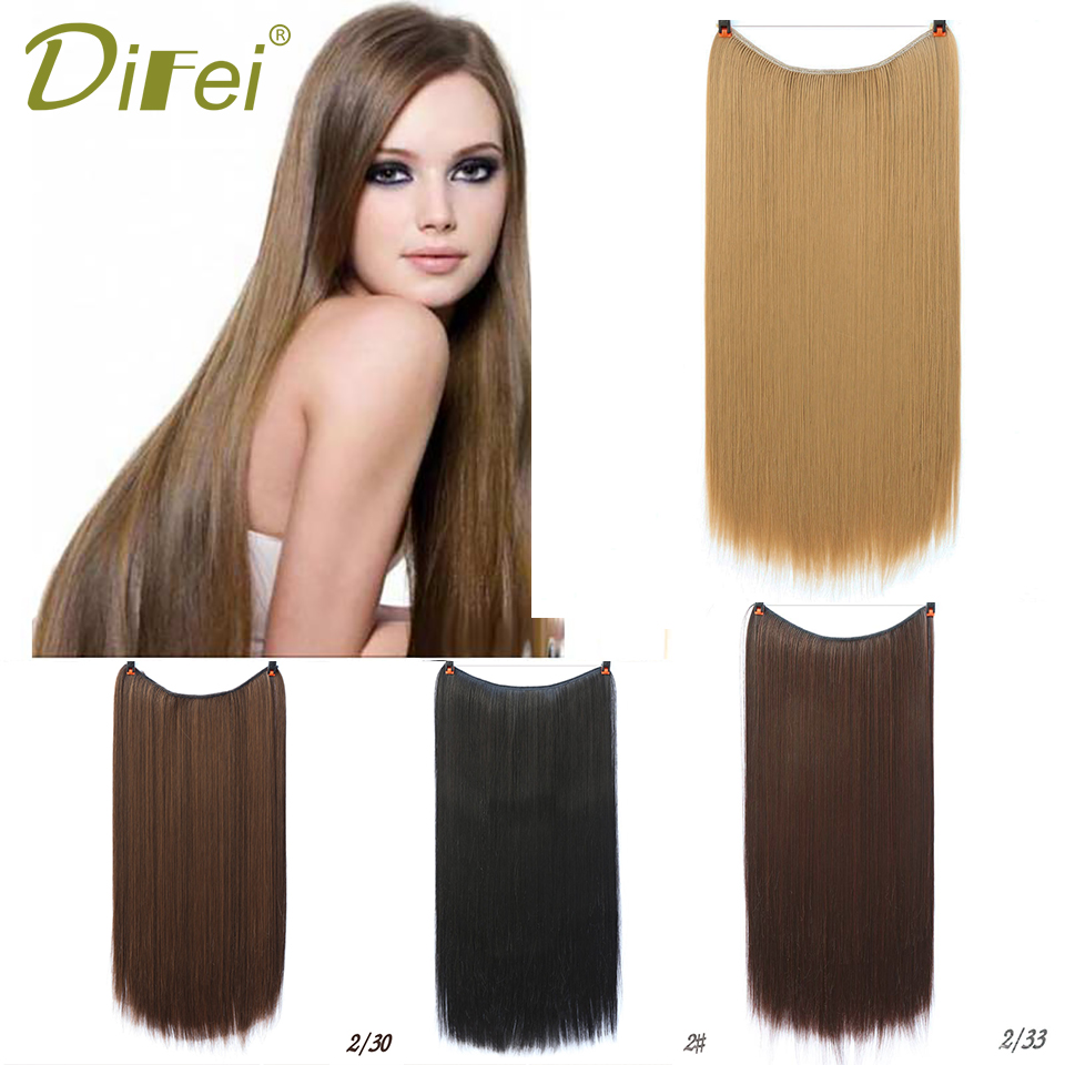 DIFEI Invisible Wire No Clips in Hair Extensions 22 Inch Long Straight Heat Resistant Hair Extensions for Women