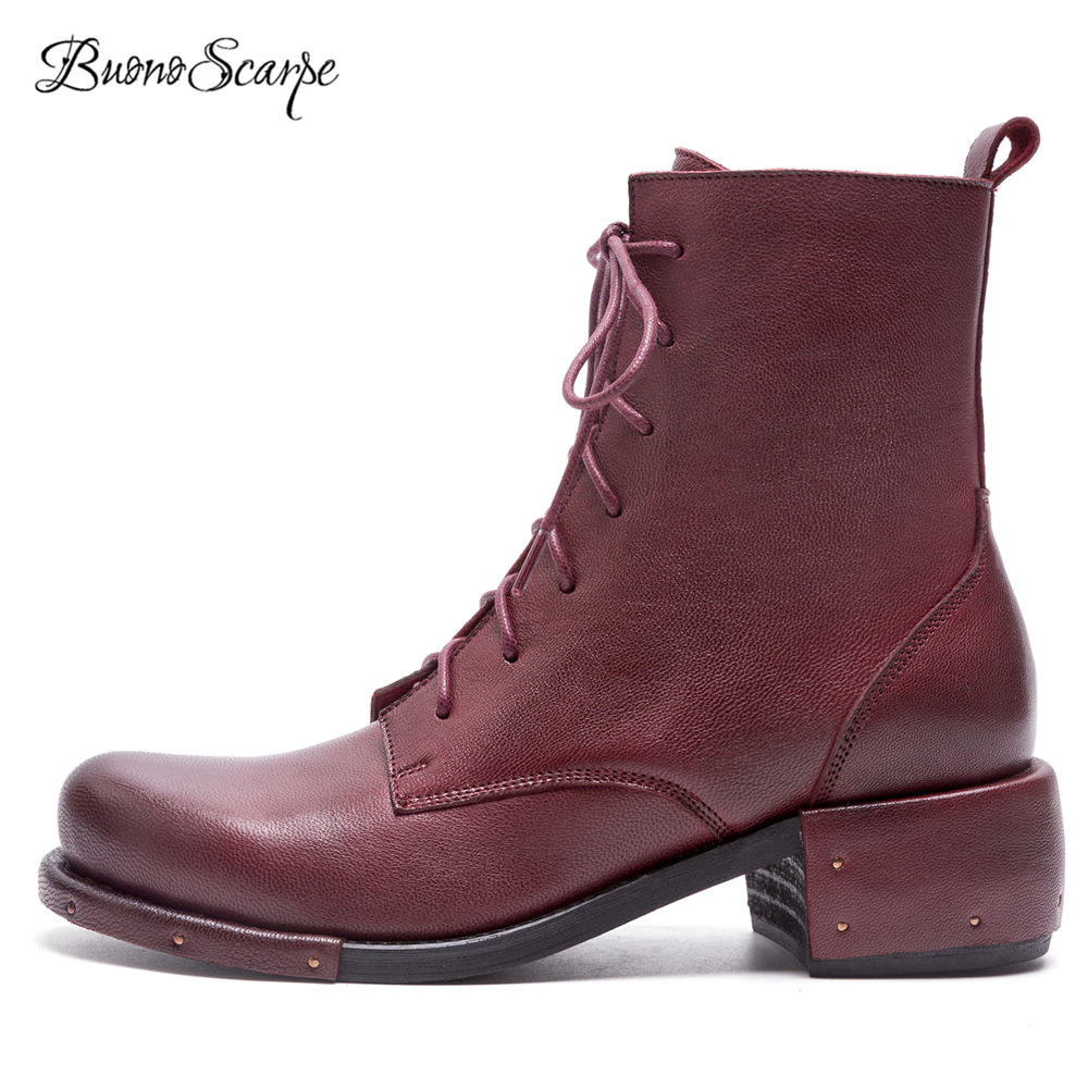 BuonoScarpe 2018 New Autumn Winter Lace Up Ankle Boots Real Leather Heels Shoes Rivets Women Short Boots Retro Casual Chic Boots chic pu plain lace up mens winter boots