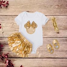 Baby Headband Shoes Gold Minnie Clothes Set