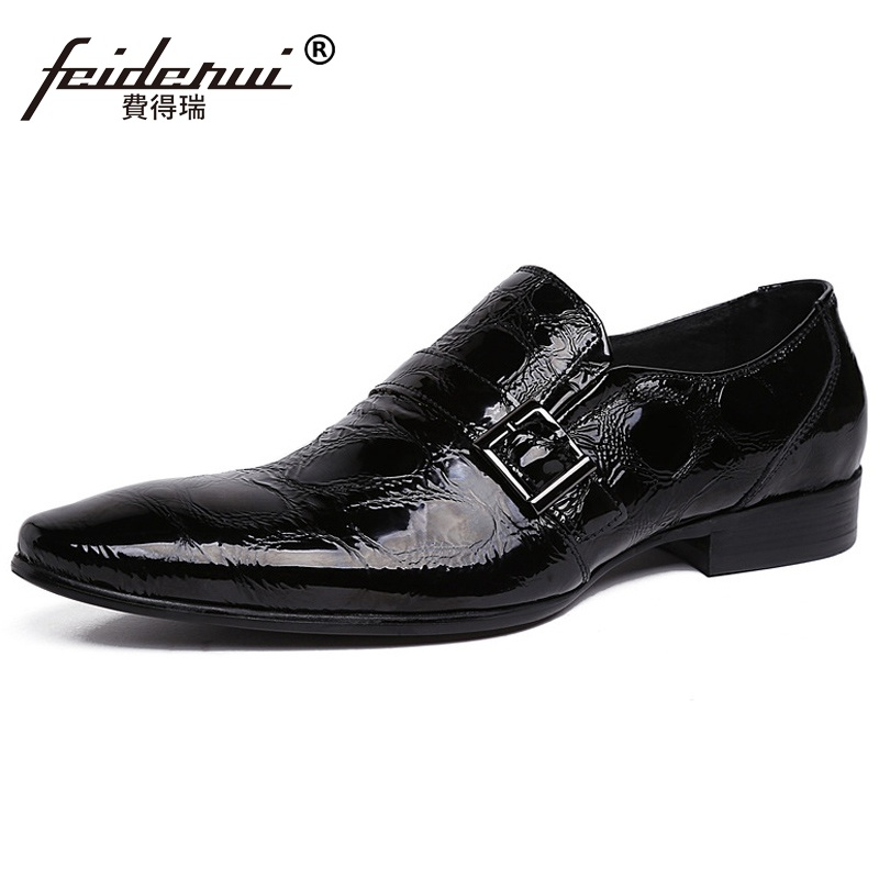 High Quality Formal Man Monk Strap Dress Shoes Patent Leather Oxfords Brand Pointed Toe Handmade Men
