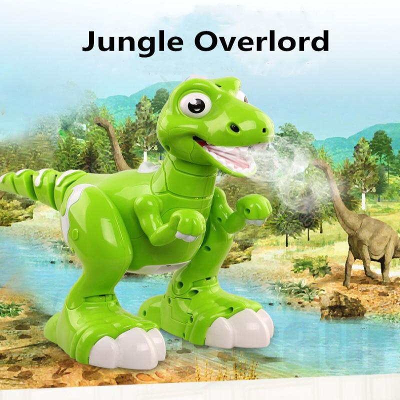 Niños regalos baile y música inteliget seguir RC caminar dinosaurio juguetes Jurásico tyrannosaurus Rex RC Robot con pulverización