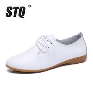 Image 2 - STQ 2020 Autumn Women Oxford Shoes Ballerina Flats Shoes Women Leather Shoes Ladies Lace Up Loafers Moccasins White Shoes 130