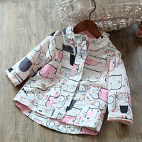 Spring Autumn Style Hooded Jacket Cartoon Cat Pattern Pink Jacket For Girls New Brand Windbreaker For