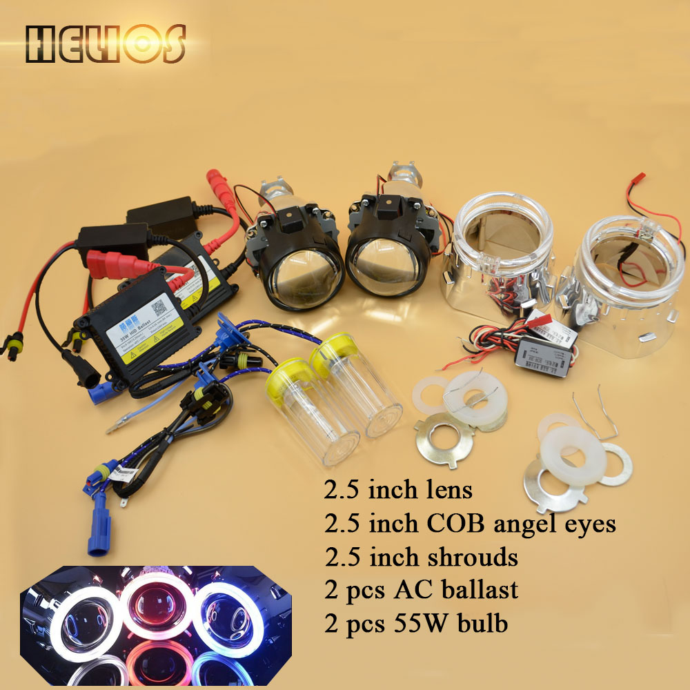 ФОТО Car styling 2.5 inches LHD/RHD bi xenon projector lens with shrouds and ac hid xenon kit with H1 fast start up bulb 6000K white