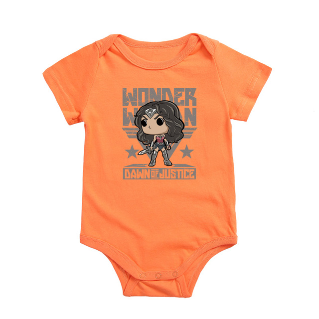 2017 Short Sleeve Baby Girls Boys WONDER WOMAN Cartoon Bodysuit Infant Newborn Babies Overall Jumpsuits 0-18 Month