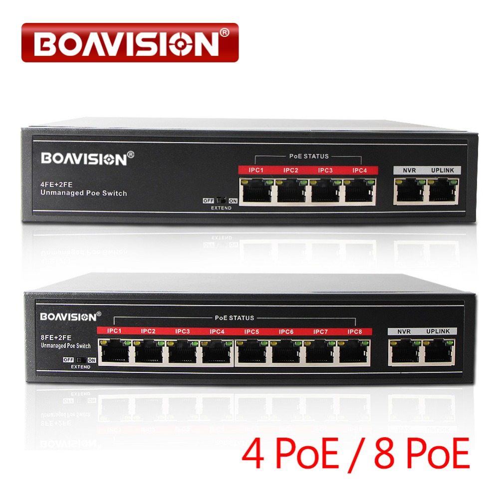 4 / 8 POE Ports Fast Ethenet 10/100Mbps 2 Up Link Ports 1Gbps IEEE802.3at/af PoE Switch Adapter Max 30W Support POE IP Camera