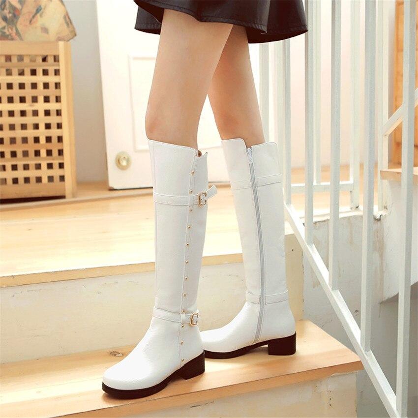 Spring Autumn Women Low High Heels Knee High Boots Woman Long Boots Shoes botas botte Plus Size 34 - 40 41 42 43