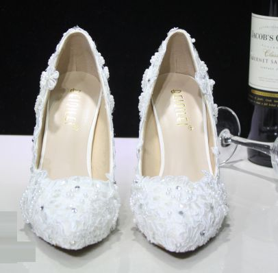 ФОТО Womens white lace shoes point toe thin high heels stiletto female ladies TG548 party wedding proms dress shoes crystal handmade