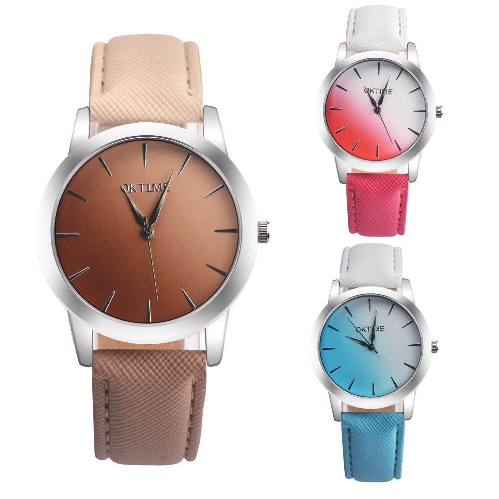 Montre Femme Quartz Watch Ladies Retro Rainbow Design Leather Band Analog Alloy Quartz Wrist Watch 2018 A# stylish bracelet zinc alloy band women s quartz analog wrist watch black 1 x 377