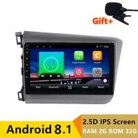 9 2.5D IPS screen 2G RAM 32G ROM Android Car DVD Player GPS For Honda Civic 2012 2015 audio car radio stereo navigation