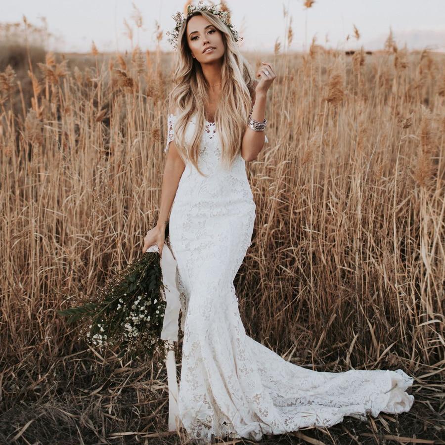 Elegant Lace Boho Wedding Dresses Country Style Sweetheart