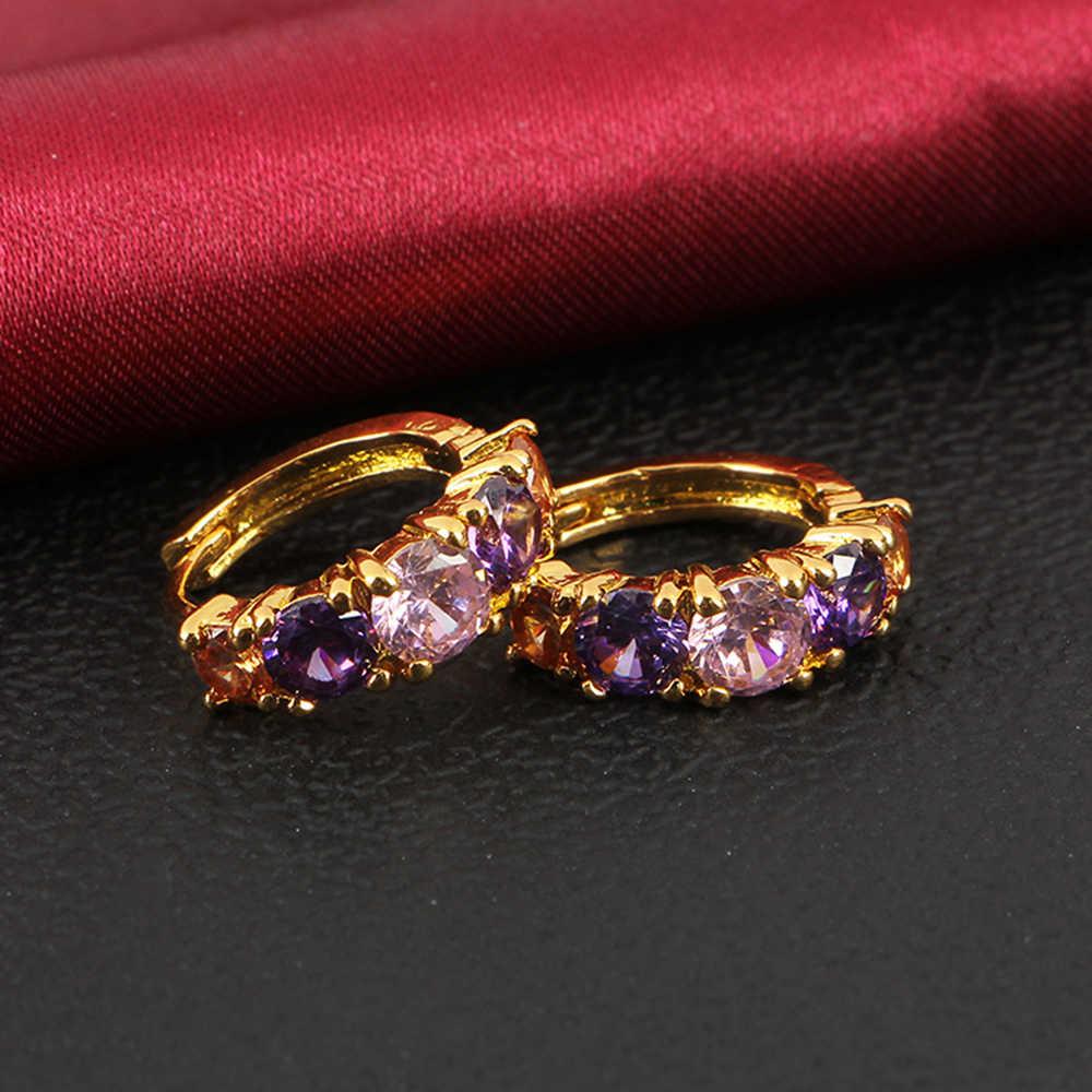 CUTEECO Luxury Ear Stud Earrings Women Purple Pink Crystal Cubic Zircon Charm Flower Stud Earrings For Women Jewelry Gift