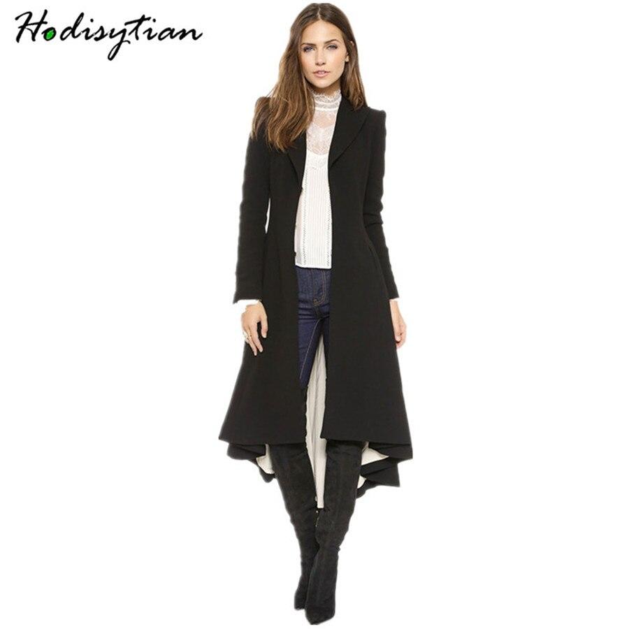 Hodisytian Autumn Fashion Women   Trench   Coat Dovetail Wool Blends Casual Long Windbreaker Outerwear Overcoat Casaco Plus Size