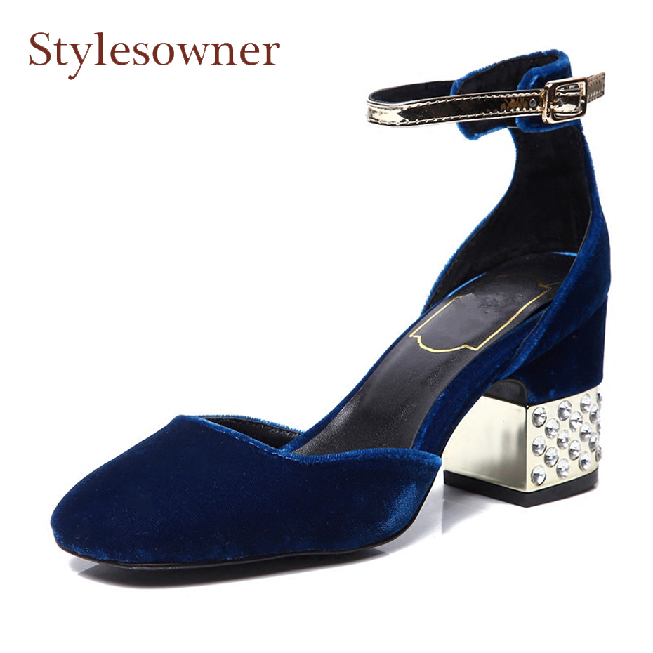 Stylesowner spring summer round toe shoes women pumps crystal metal chunky heel sandals elegant lady velvet ankle strap shoes stylesowner elegant lady pumps sandal shoe sheepskin leather diamond buckle ankle strap summer women sandal shoe