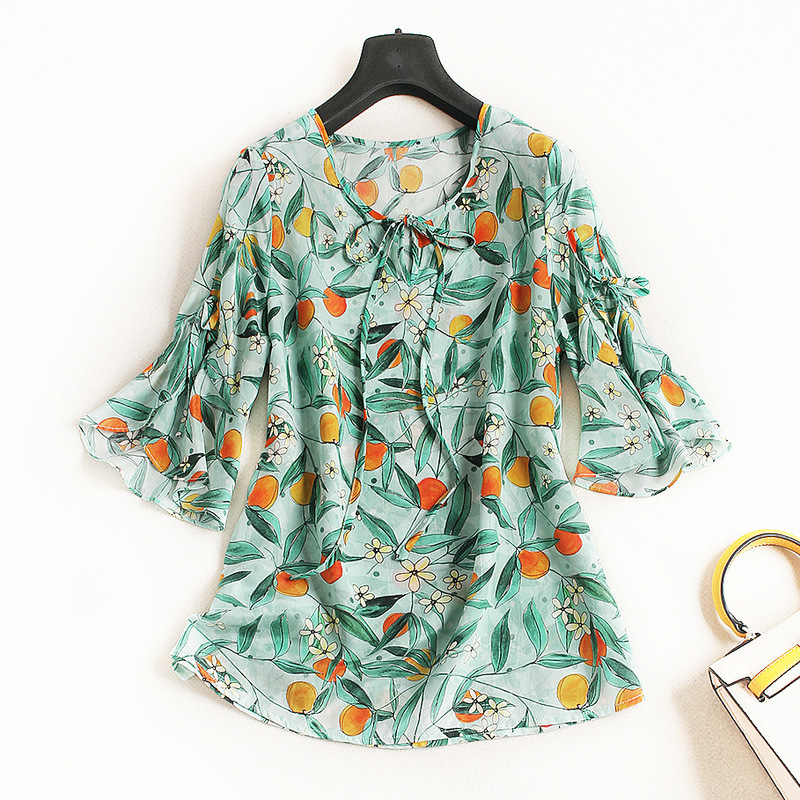Women fashion sweet orange leaves patterns print 100% silk tops and blouse flare sleeve bow tie lace up new 2018 summer green