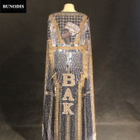 BU22302 Women Sexy Cape Full Of Silver Gold Sparkling Crystals Clothing Nightclub Party Stage Wear Bling Costumes