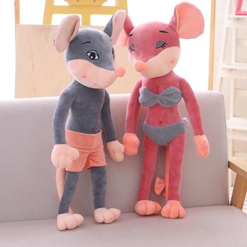New Sexy Couple Rat Plush Toys Super Cute Plush Toy Cartoon Mouse Couple Scarf Cloths Rat Stuffed Doll Birthday Christmas Gift