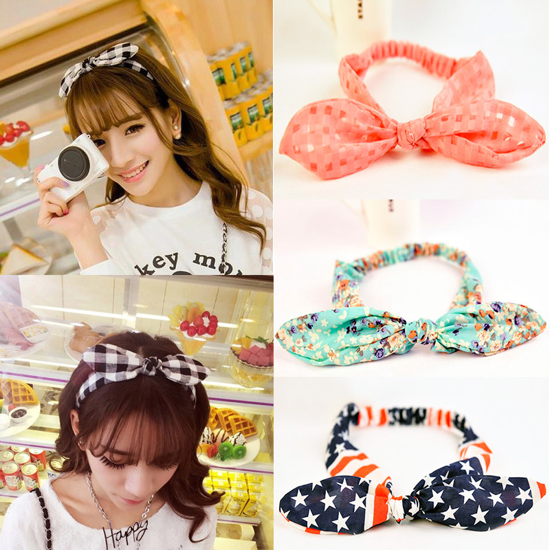 2017 New Girls Bowknot Headbands Korean Style Rabbit Ears Lady Women Fabric Hairbands Holders Accessories Fashion Free Shipping 2017 new girls bowknot headbands korean style rabbit ears lady women fabric hairbands holders accessories fashion free shipping