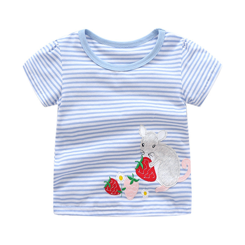 Baby girls new designed white blue striped summer t shirts kids new style cartoon t shirt with applique a cute mouse hot selling
