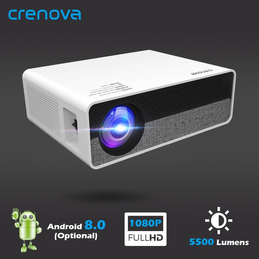 Crenova 2019 mais novo hd completo 1080 p resolução física android 8.0 os projetor de vídeo com 5g wifi suporte 4 k led projetor q9