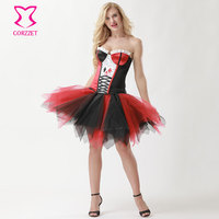 Red/Black Sexy Corset Fancy Dress Clown Lady Costume Role playing Joker Doctor Anime Cosplay Harley Quinn Halloween Costumes
