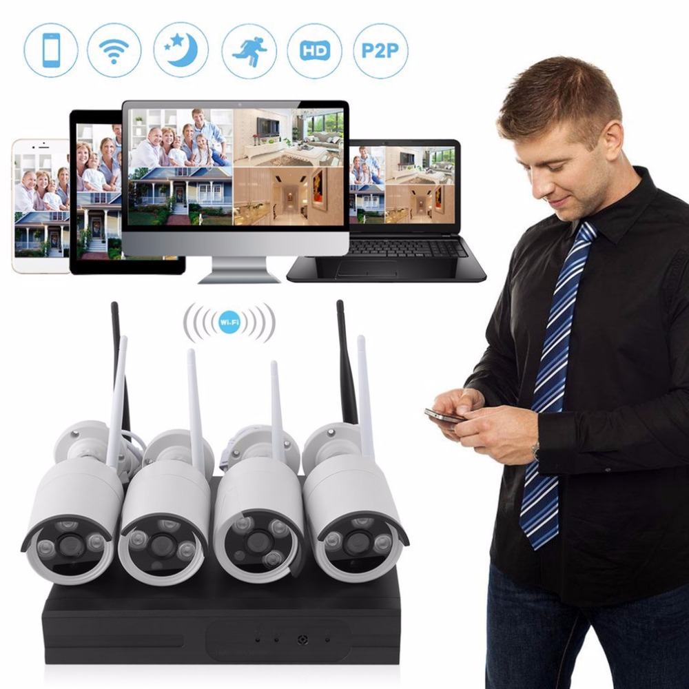 LESHP Wireless Security Camera System Video Surveillance Kit 4CH Wifi NVR Kit P2P HD 720P 960P Night Vision IP Camera Kit Set