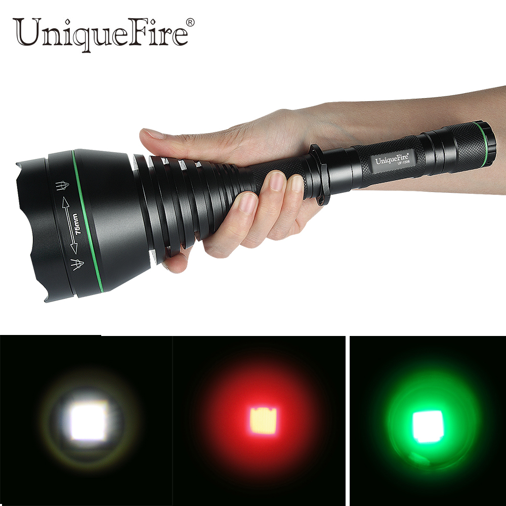 New Arival Colorful Hunting Zoomable Flashlight Torch Uniquefire 1508-75mm XRE LED 3 Modes Green /Red /White Light For Hunting perfect rifle hunting flashlight uf 1508 ir850nm t38 zoomable powerful torch xre red light lamp holder helpful for night hunting