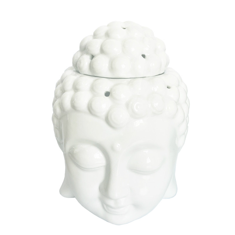 Aromatherapy Oil Burner Buddha Head Aroma Oil Station Ceramic Oil Furnace Temple India I ...
