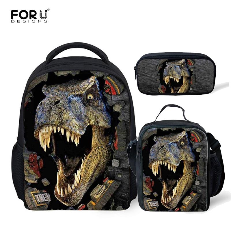 FORUDESIGNS 3pcs/set Dinosaur Printing Kindergarten Schoolbag Toddler Backpack School Bags For Kids Boys Satchel Mochila Escolar