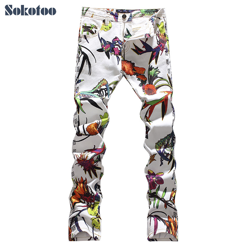 ФОТО Sokotoo Men's fashion slim flower print jeans Male painted denim pants Colored drawing long trousers Free shipping