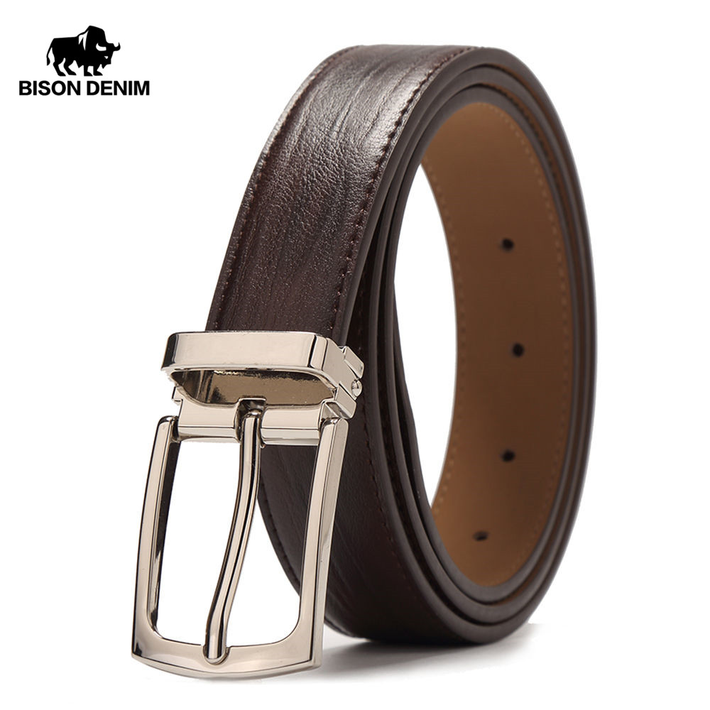 BISON DENIM Men's   Belt   Genuine Leather   Belts   Pin Buckle Casual   Belt   Men BROWN COFFEE Cowskin Leather Strap   Belt   For Gift W71123