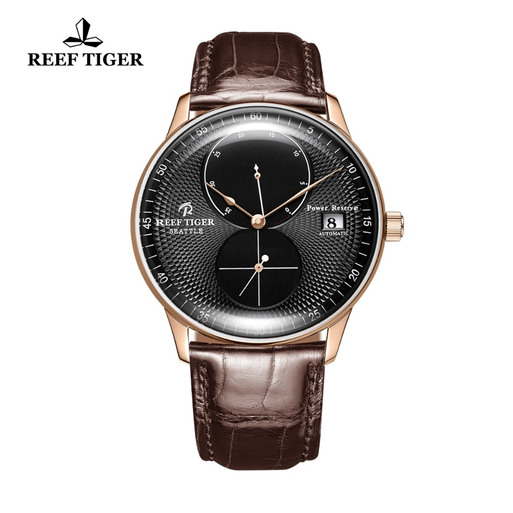 Reef Tiger/RT Top Brand Luxury Casual Watches Mens Genuine Leather Strap Waterproof Automatic Watch Rose Gold Watches RGA82B0